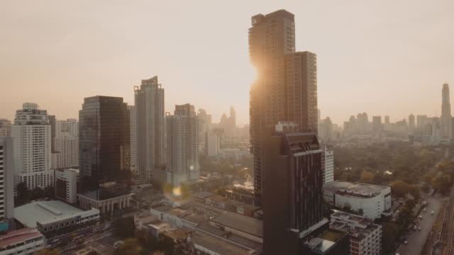 bangkok aerial shot at sunset - viewpoint stock videos & royalty-free footage