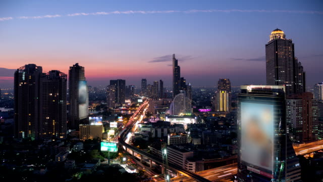 bangkok aerial view with bridge : dusk to night time-lapse - dusk to night stock videos & royalty-free footage
