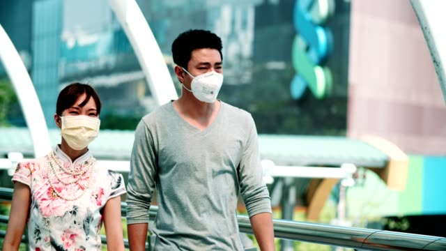 bangkok air pullotion : young couple suffer from cough with face mask protection - virus organism stock videos & royalty-free footage