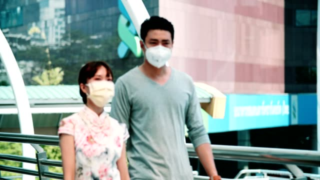 Bangkok Air Pullotion : Young couple suffer from cough with face mask protection