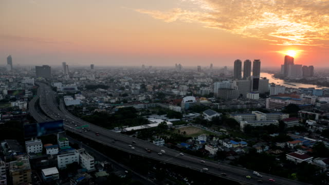 bangkok city during sunset : day to dusk time-lapse - day to dusk stock videos & royalty-free footage