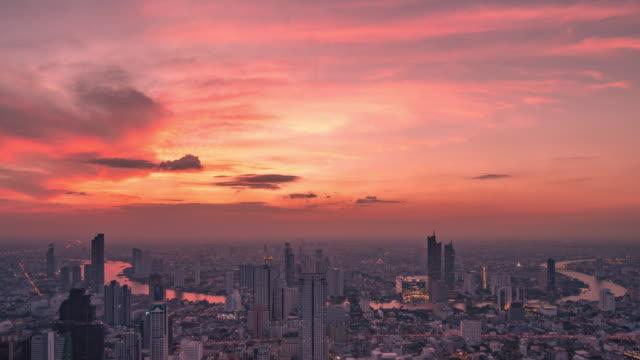vídeos y material grabado en eventos de stock de paisaje de la ciudad de bangkok ,timelapse - tailandia