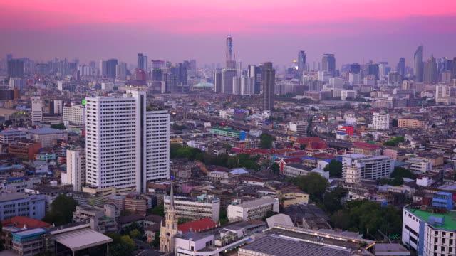 vídeos y material grabado en eventos de stock de bangkok city skyline with pink sunset in thailand - rosa brillante