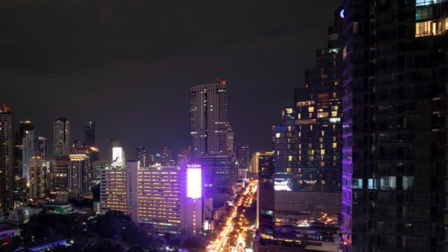 バンコクの都市スカイライン夜都市高層ビル。 - 映像技法点の映像素材/bロール