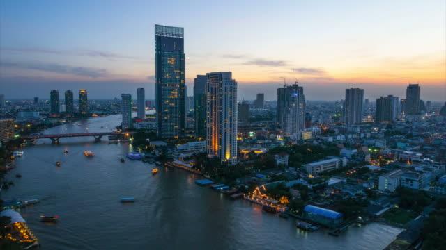 Bangkok downtown skyline river view
