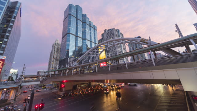Bangkok financial district day to night time lapse