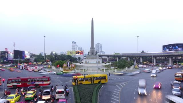 bangkok landmark day to night time lapse - electronic billboard stock videos and b-roll footage