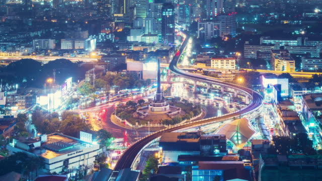 Bangkok night Traffic area roundabout Time Lapse 4k ,Zoom out.