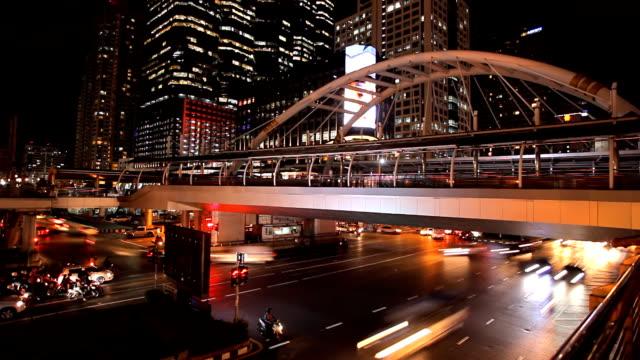 bangkok rush hour time lapse at night. - full hd format stock videos & royalty-free footage