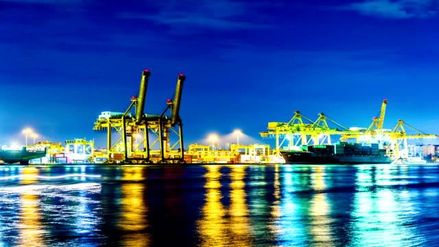 Bangkok Shipyard Working at Dusk Time Lapse