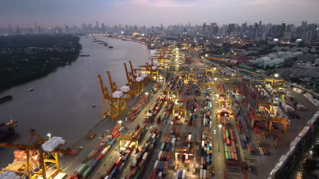bangkok thailand port of logistics and transportation of container cargo ship - box container stock-videos und b-roll-filmmaterial