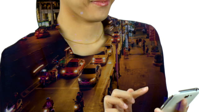 Bangkok traffic double exposure businesswoman using smartphone