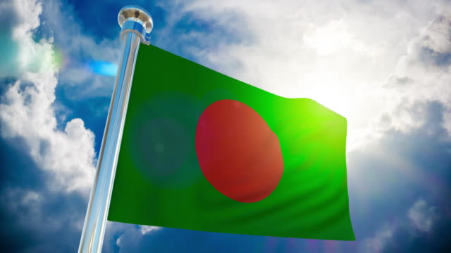 4k - bangladesh flag | loopable stock video - flag of bangladesh stock videos & royalty-free footage
