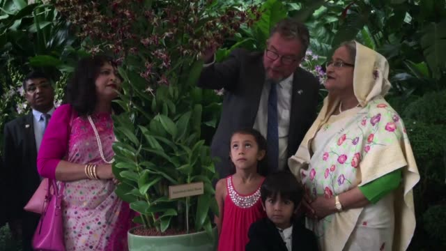 Bangladesh Prime Minister Shiekh Hasina has an orchid named after her the Dendrobium Sheikh Hasina at the Singapore Botanic Gardens while on an...