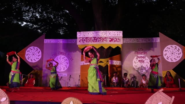 """bangladeshi artists and cultural people gather to celebrate the """"nabanno utshab"""" or harvest festival in fine art collage, dhaka, bangladesh. nabanno... - harvest festival stock videos & royalty-free footage"""