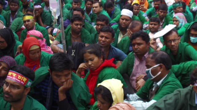 bangladeshi community health care provider held hunger strike demanding nationalization of their job in front of national press club dhaka bangladesh... - nationalization stock videos & royalty-free footage