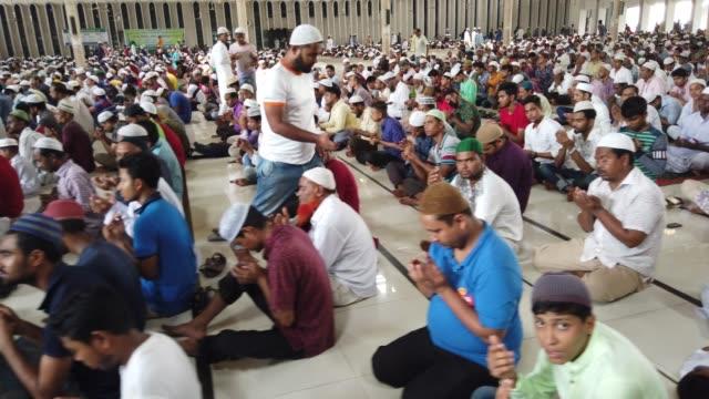 bangladeshi muslims perform the first friday prayer at first day of ramadan during the muslim holy fasting month of ramadan in dhaka , bangladesh - islam stock videos & royalty-free footage