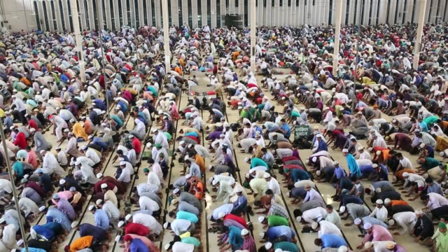 bangladeshi muslims perform the first friday prayer at first day of ramadan during the muslim holy fasting month of ramadan in dhaka , bangladesh on... - islam stock videos & royalty-free footage