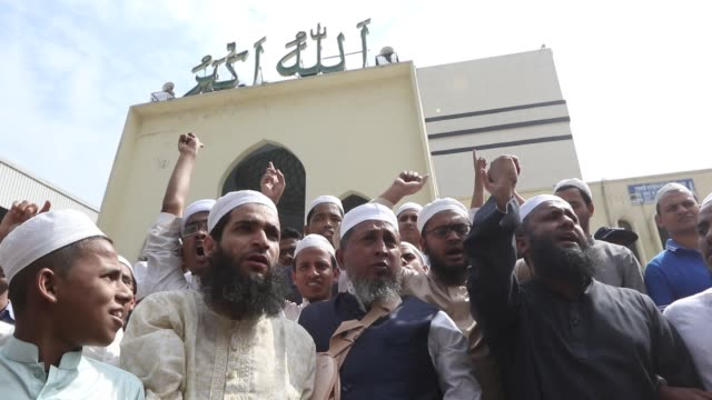bangladeshi muslims protest after two mosques have been attacked in new zealand following friday prayers in dhaka on march 15 2019 attacks on two... - bangladeshi culture stock videos & royalty-free footage