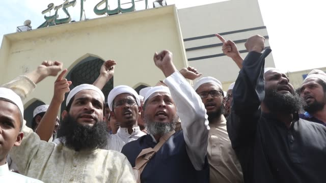 bangladeshi muslims protest after two mosques have been attacked in new zealand following friday prayers in dhaka on march 15 2019 attacks on two... - extremism stock videos & royalty-free footage