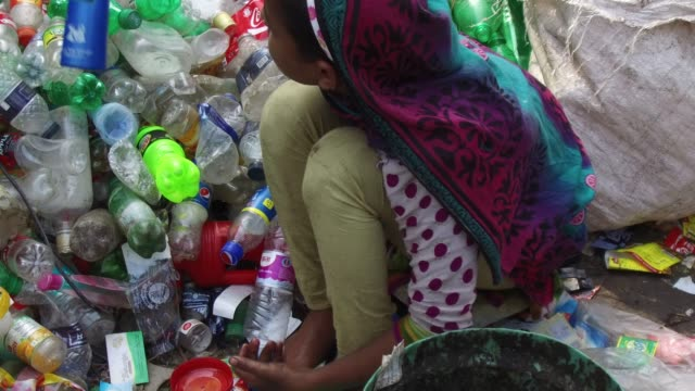 vídeos y material grabado en eventos de stock de bangladeshi people work in a plastic bottle recycling factory in dhaka bangladesh on february 08 2018 after removing the labels and caps and... - plant part