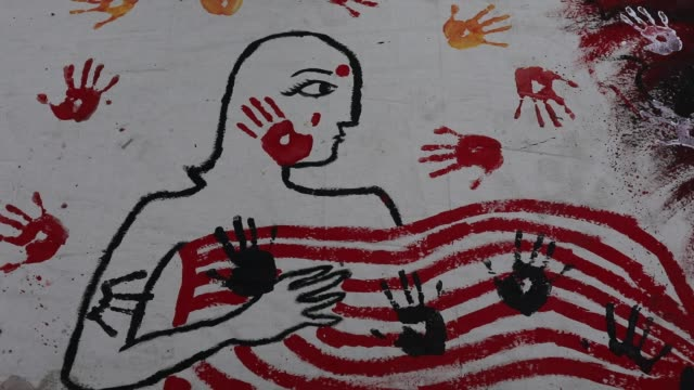bangladeshi students make a symbol to protest against an alleged gang-rape and brutal torturing of a woman in the southern district of noakhali, in... - editorial stock videos & royalty-free footage