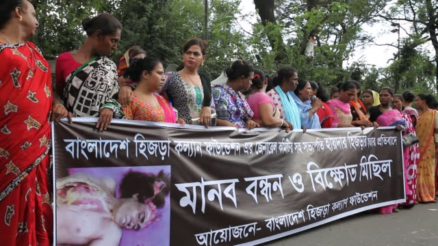 Bangladeshi transgenders gathered and made protest against the recent killing of their leader Haider Ali Koli in front of Press Club in Dhaka...