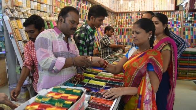 bangles store, mumbai, india. - editorial stock videos & royalty-free footage
