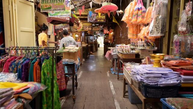 bangphli floating market, an old market along a klong in samut prakan. - bangkok stock videos & royalty-free footage