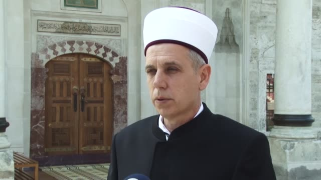Banja Luka's mufti Osman Kozlic speaks at an interview at Ferhadija Mosque in Banja Luka Bosnia and Herzegovina on May 07 2018 Bosnia and Herzegovina...
