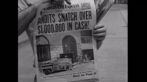 vidéos et rushes de 1952 bank bandits make the front page of the newspaper - 1952