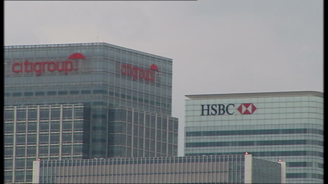 gordon brown says there must be 'no rewards for failure'; ext barclays sign on office building banking headquarters of hsbc, citigroup and canada... - banking sign stock videos & royalty-free footage