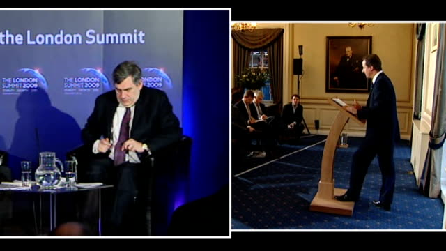 vidéos et rushes de gordon brown says there must be 'no rewards for failure'; graphicised sequence split screen gordon brown mp speaking / david cameron mp speaking... - prime minister
