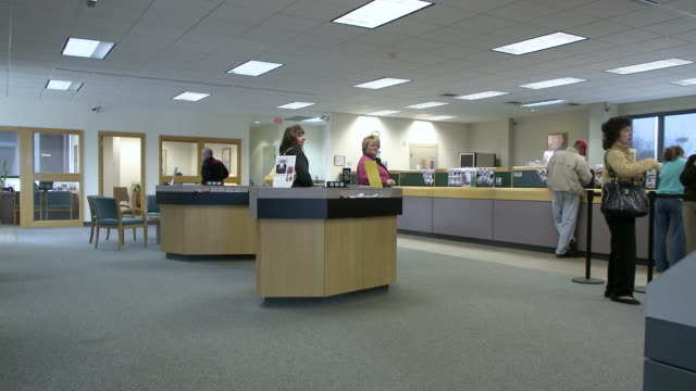 ws bank lobby, bethlehem, pennsylvania, usa - bank financial building stock videos and b-roll footage