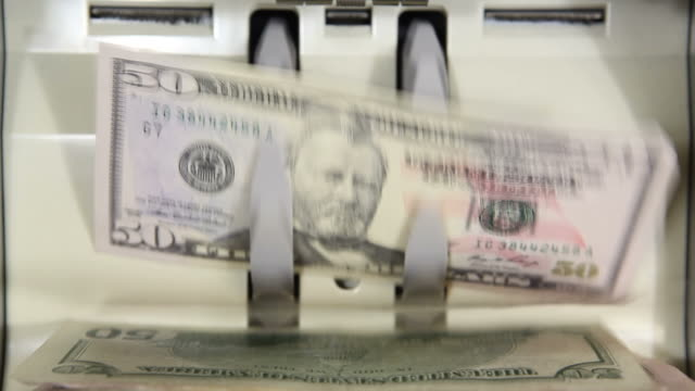 Bank Money Counting Machine with $50 and $100 Bills