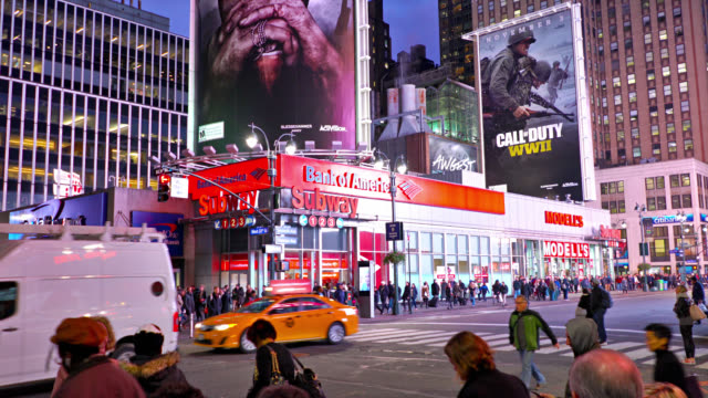 vídeos de stock e filmes b-roll de bank of america. 7th avenue - billboard