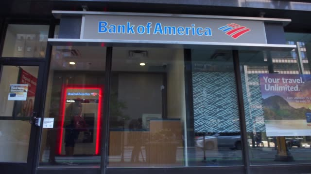 bank of america locations in downtown chicago il on july 9th 2017 shots exterior shot of facade and signage with pedestrians walking by tilt down... - bank of america stock videos & royalty-free footage