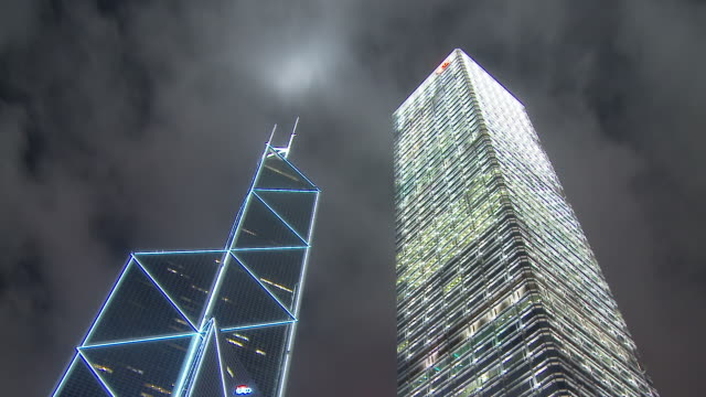 bank of china tower and cheung kong center 2 at hong kong, china - bank of china tower hong kong stock videos & royalty-free footage