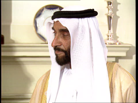 Bank of Credit and Commerce Int closure INT Downing St CMS Sheikh Zayed Bin Sultan AnNahayan ruler of Abu Dhabi PULL OUT standing chatting to PM...
