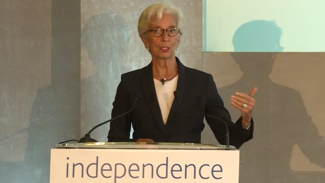 Bank of England '20 Years On' conference Christine Lagarde speech ENGLAND London Bank of England INT Christine Lagarde speech SOT re future of...