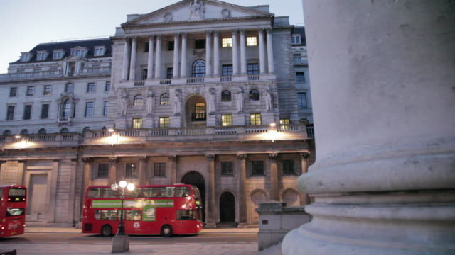 Bank of England and Pillars of The Royal Exchange at Dusk, The City, London, England, UK