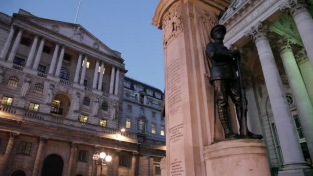 Bank of England and The Royal Exchange at Dusk, The City, London, England, UK