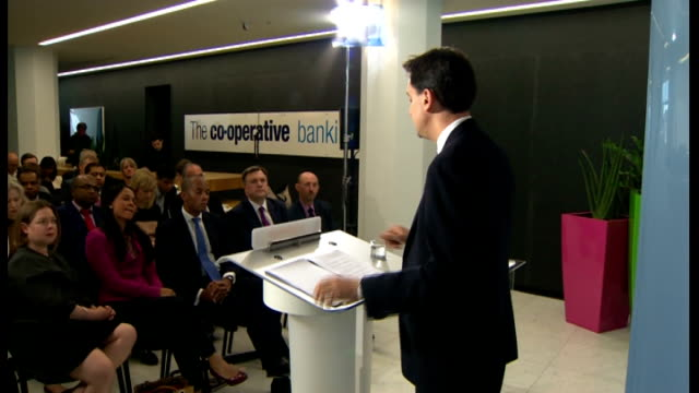 bank of england deputy governor denies influencing libor rate; east london: co-operative bank: int gvs ed miliband mp delivering banking reform... - 説得点の映像素材/bロール