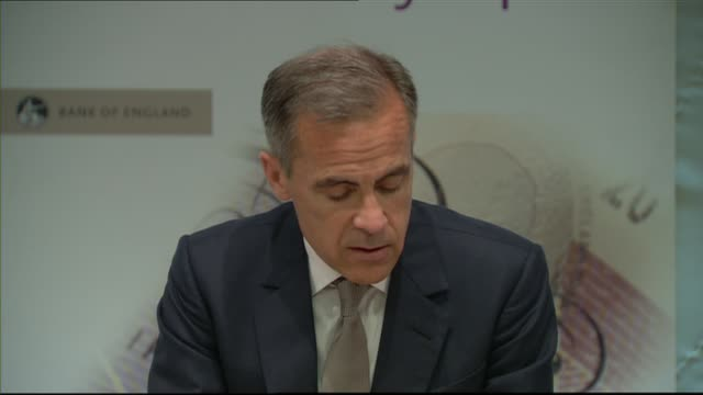 Bank of England Financial Stability Report press conference ENGLAND London Bank INT Mark Carney Sir Jon Cunliffe and Andrew Bailey entering room /...