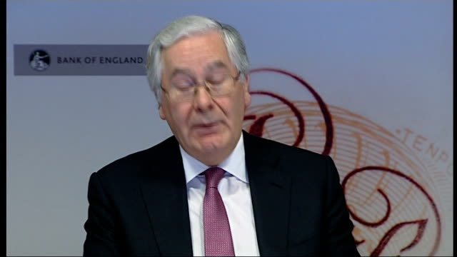 Bank of England Governor warns of danger of triple dip recession ENGLAND London Bank of England INT Sir Mervyn King press conference SOT Unreasonable...