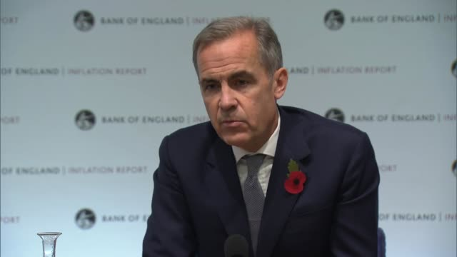 Bank of England Inflation Report press conference ENGLAND London Bank of England INT Mark Carney press conference SOT