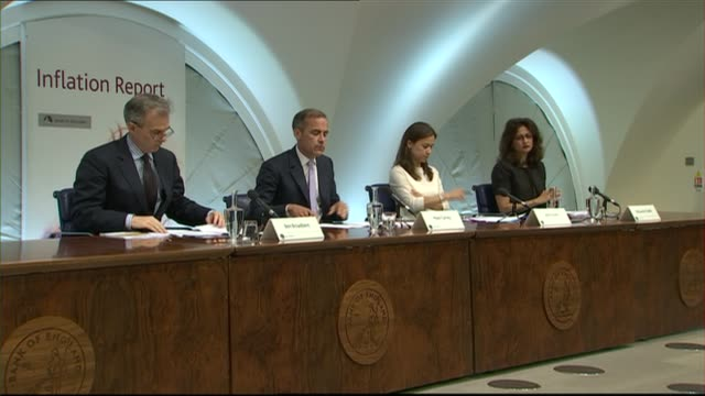 Bank of England keeps interest rates on hold Bank of England Various of Mark Carney and others sitting at press conference Reporter asking question...
