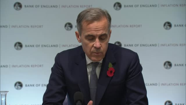 bank of england keeps interest rates on hold england london bank of england int mark carney press conference sot the economic outlook depends... - バンク オブ イングランド点の映像素材/bロール