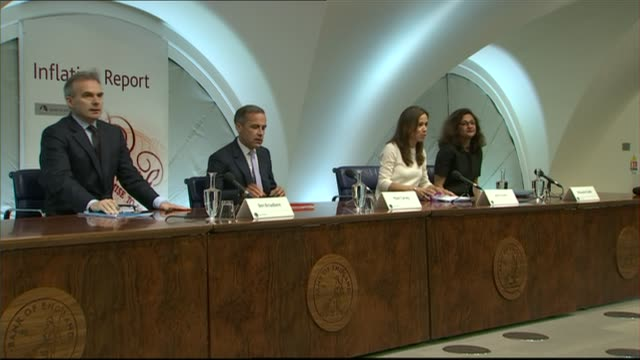 Bank of England keeps interest rates on hold INT Various of Mark Carney taking seat at 'Inflation Report' press conference Mark Carney press...