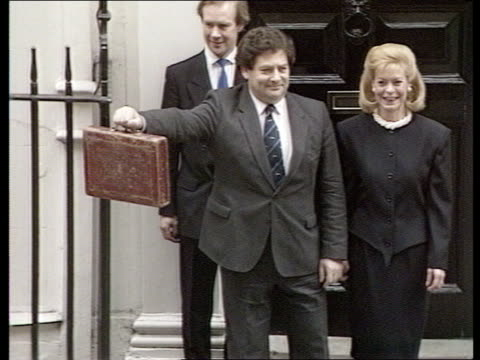 bank of england orders 1 per cent rise in interest rates r 1731987 london downing street number 11 photography** nigel lawson and wife therese... - number 11 stock videos and b-roll footage